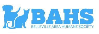 Belleville Area Humane Society-BAHS (Belleville, Illinois) logo blue dog and cat silhouette