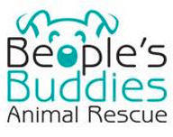 "Beople's Buddies Animal Rescue (Los Angeles, California) logo with dog face where the ""o"" is the nose"