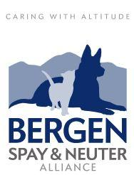 Bergen Spay and Neuter Alliance, (Denver, Colorado) logo Dark blue dog and light blue cat with Blue and grey text and white