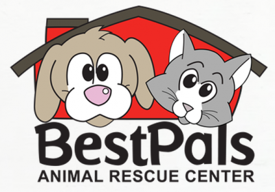 BestPals Animal Rescue Center (Holland, Michigan) logo is brown dog and gray cat face in front of red house above org name