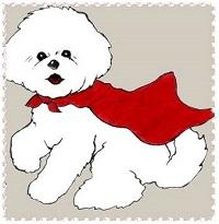 Bichon Rescue Brigade (Orange, California) logo with white Bichon Frise dog wearing red cape with front right paw raised