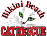 Bikini Beach Cat Rescue (Murrells Inlet, South Carolina) logo with red lettering with white cat face with whiskers in the center