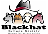 Blackhat Humane Society (Durango, Colorado) logo black cowboy hat with dog, cat, sheep and horse
