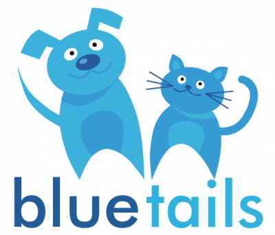 Bluetails Pet Rescue (Marrero, Louisiana) logo is blue cat and dog above organization name with blue in darker letters than tail