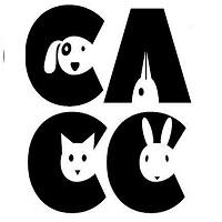 Chicago Animal Care and Control (Chicago, Illinois) logo with CACC letters & faces of a dog, cat, rabbit & bird in each letter