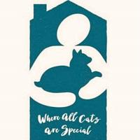 Colorado Companion Animal Sanctuary (Bailey, Colorado) logo of house, human, cat and tagline 'Where all cats are special'