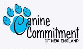 Canine Commitment of New England (New Boston, New Hampshire) logo with blue paw print