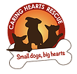 "Caring Hearts Rescue (Springfield, Virginia) logo with dogs, text ""small dogs, big hearts"" appearing in a bone"