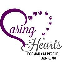 Caring Hearts Dog & Cat Rescue (Laurie, Missouri) logo with purple heart with paw prints