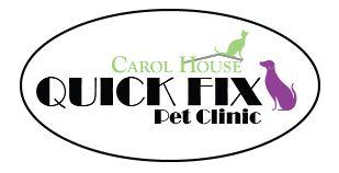 Carol House Quick Fix Pet Clinic (St Louis, Missouri) logo with green cat and purple dog