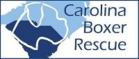 Carolina Boxer Rescue (Mint Hill, North Carolina) logo has boxer head outline over blue North and South Carolina states