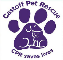 Castoff Pet Rescue (Blairsville, Georgia) logo of paw print with cat silhouette