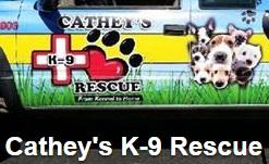 "Cathey's K-9 Rescue (Lake Isabella, California) logo has a pawprint heart and ""K-9"" in a white cross"
