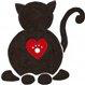 Catkins Animal Rescue (Fifield, Wisconsin) logo of black cat with red heart