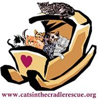 Cats in the Cradle Rescue (Alpharetta, Georgia) logo of a group of cats in a cradle with a heart on it