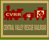 "Central Valley Rescue Railroad (Lindsay, California) logo with ""CVRR,"" a pawprint, and a dog and cat on a train"