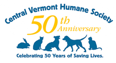 Central Vermont Humane Society (East Montpelier, Vermont) logo celebrates their 50th anniversary and shows a row of animals