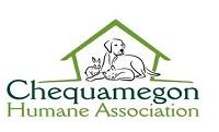 Chequamegon Humane Association (Ashland, Wisconsin) logo with cat and dog inside a shelter