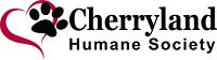 Cherryland Humane Society (Traverse City Michigan) logo with red outline of heart and black pawprint