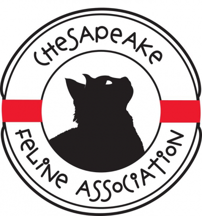 Chesapeake Feline Association (North East, Maryland) logo of black cat in center of round life preserver
