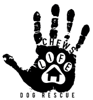 Chews Life Dog Rescue (Oceanside, California) black & white logo with handprint, name of orgnaization and image of shelter