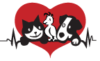 Chicago Pet Rescue (Chicago, Illinois) logo with black & white cat, bird, dog on red heart