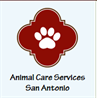 City of San Antonio Animal Services (San Antonio, Texas) logo is red symbol with white paw print in it