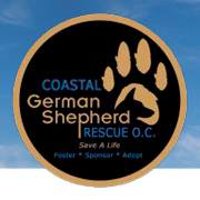Coastal German Shepherd Rescue (Irvine, California) logo with pawprint and name of organization in circle on blue background