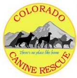 Colorado Canine Rescue (Englewood, Colorado) logo with dogs against mountain backdrop & tagline 'There's no place like home'