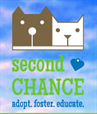 Columbia Second Chance (Columbia, Missouri) logo of dog, cat and tagline 'Adopt, foster, educate'