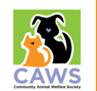 Community Animal Welfare Society (Clearfield Utah) logo with CAWS, cat & dog on green background