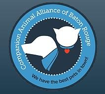 Companion Animal Alliance (Baton Rouge, Louisiana) logo with dog & cat inside blue circle