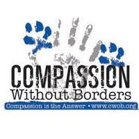 Compassion Without Borders (Santa Rosa California) logo with handprint, pawprints & tagline 'Compassion is the Answer'