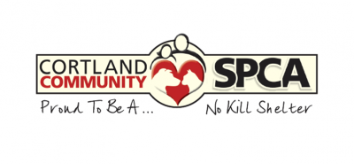 Cortland County Society for the Prevention of Cruelty to Animals (Cortland, New York) logo dog and cat in heart proud to be a no