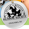 Coulee Region Humane Society (Onalaska, Wisconsin) logo with round medallion with name, location and horse, bird, cat, dog