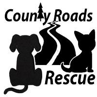 County Roads Rescue (Jacksonville, Texas) logo with cat and dog looking down a road