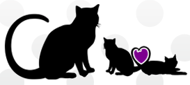 Culpeper Felines and Friends (Brandy Station, Virginia) logo with 3 cats and purple heart