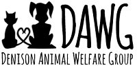 Denison Animal Welfare Group (Denison, Texas) logo with DAWG, cat, dog, heart