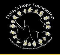 Daisy's Hope Foundation (Upland,California) logo with dog and cat inside circle of daisies