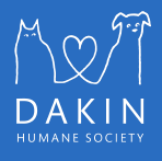 Dakin Humane Society (Springfield, Massachusetts) logo: Dog and cat on blue background