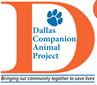 "Dallas Companion Animal Project (Dallas, Texas) logo: Name and paw print inside an orange ""D"""