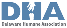 "Delaware Humane Association (Wilmington, Delaware) logo of ""DHA"" with a hand reaching for a paw to form the ""H"""