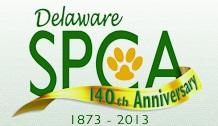 "Delaware SPCA (Newark, Delaware) logo has a pawprint in the ""C"" and a 140th anniversary banner underneath the ""SPCA"""
