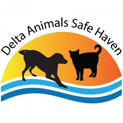 Delta Animals Safe Haven (Antioch, California) logo is black cat and dog, top 1/2 of orange oval with 2 blue lines underneath