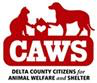 "Delta County Citizens for Animal Welfare & Shelter (Paonia, Colorado) logo ""CAW"" with dog, cat & house with a white heart in it"