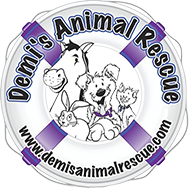 Demi's Animal Rescue (Aurora, Colorado) logo with lifesaver and dog, cat, rabbit, horse in center