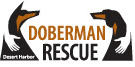 Desert Harbor Doberman Rescue of Arizona (Phoenix) logo with hands on dobermans