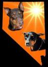 Doberman Rescue of Nevada (Las Vegas, Nevada) logo with 2 Dobermans & sun on orange background in shape of Nevada