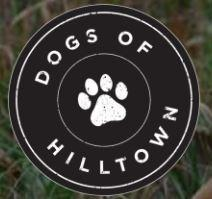 Dogs of Hilltown (Aubrey, Texas) circle logo with paw print in center