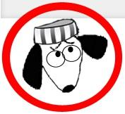Dogs on Deathrow (Larkspur, California) logo of dog wearing prison hat inside red circle